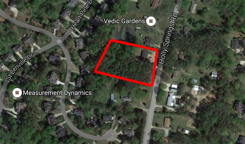 Roughly the area of the proposed Holly Springs rezoning