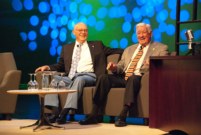 Dick Ladd, left, sitting with Jerry Miller, right, at the Cary Chamber of Commerce's 50th Anniversary in 2012.