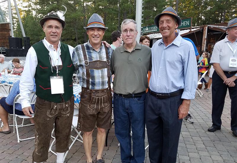 Weinbrecht with, left to right, Oktoberfest burgermeister Randy Bossé, Apex Mayor Lance Olive and Cary Mayor Pro Tem Ed Yerha