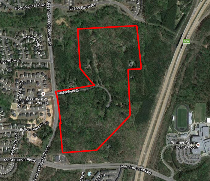 The approximate shape and size of land annexed by Ridgefield Drive.