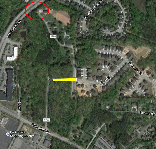 The road closure marked in yellow with the requested expansion to Cary Parkway circled