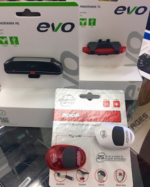 Starting Nov 1, all bikes riding after sunset require a white and red light. For the cyclist you know, these are great . From Inside Out Sports, from $20-$28