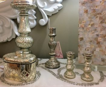 Beautiful mercury glass brightens any area of the home. These pieces from The Perfect Piece in Downtown Cary run $17-30.