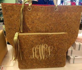 Pink Alli can monogram just about anything. These cork bags are already flying off the shelves witht he right mix of rustic and polish. $19.99 -$42.99 plus $10 for the monogram. Allow 1-1/2 weeks to personalize.
