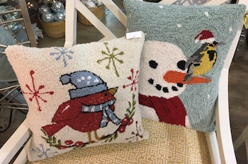 Fun decorative pillows can update a room easily- find these at Ivy Cottage for $53 each by Christmas Traditions