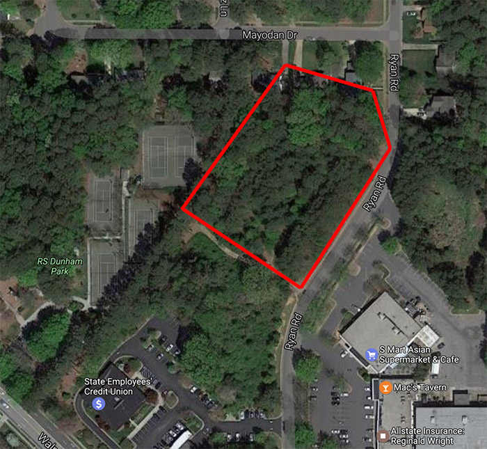 The approximate location of the proposed Ryan Road development